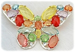 Beautiful Lucite Stoned Butterfly Brooch