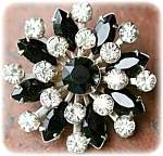Black And Crystal Stone Brooch