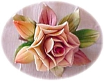 Beautiful Bisque Porcelain Rose Brooch