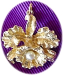 Gold Flower Pendant With Pearl