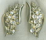 Coro Retro Flower Rhinestone Clip Earrings