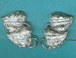 Coro Double Leaf Silver Tone Clip Earrings