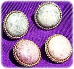 Button Earrings Marbelized Pattern