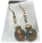 Amber Glass Beaded Drop Earrings