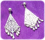 Cut Out Dangle Earrings With Silver Drops