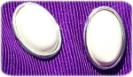 Immitation Ivory Oval Button Earrings