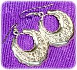 Dangle Hoop Earrings With Flower Design