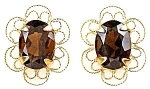 Elegant Earrings With 1.50ctw Genuine Smoky Quartz, 14k