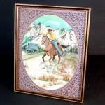 Cowboy On Horseback Framed Watercolor Painting