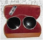 Old Clip-on Wire Frame Sunglasses In Leatherette Velvet Case