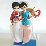 Pair Bradley Big Eyes Oriental Asian Girl Boudoir Dolls