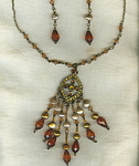 Amber Bead Rhinestone Necklace & Earrings
