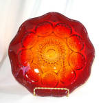 Amberina Hobstar Glass Fruit Bowl