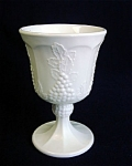 Pair Indiana Harvest Grape Milk Glass Goblets