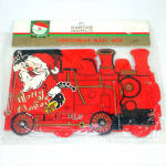 Santa Train 1960s Christmas Card Holder Mint In Package
