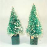 Pair Japan Snow Flocked 4 Inch Christmas Bottle Brush Trees
