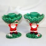 Pair Napco Santa Claus And Holly Christmas Candlesticks