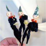 3 Chenille Musical Pixie Elves On Pipe Cleaner Stems