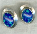 Silver Pierced Button Earrings Blue Stone
