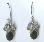 Black Onyx And Silver Pierced Earrings.