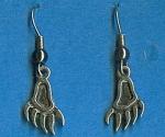 Sterling Silver Feet Or Claw Pierced Earrings