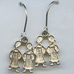 925 Sterling Silver Children Motif Earrings