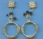 925 Sterling Silver And Black Glass Earrings