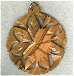 Star Carved Wood Wooden Pendant.