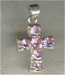 925 Sterling Silver Cross Pink Stones