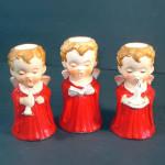 3 Boy Angel Ceramic Christmas Candlesticks 1960s Japan