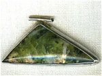 Green Agate Triangle And Silver Pendant