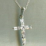 Costume Jewlery Crystal Cross With Chain