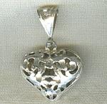 Silver Diamond Cut Filigree Puff Heart