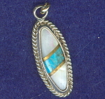 Hand Crafted Silver Shell & Turquoise Pendant