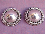 Large Mexico Mexican Sterling Silver Domed Earrings