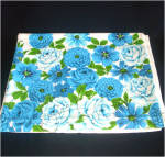 Dramatic Bold Blue Flowers Vintage Cotton Tablecloth