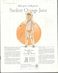 Vintage Ad Sunkist Orange Juice Baby With Juice 1930's