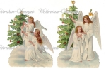 Victorian Christmas Angels With Trees Image Down Load