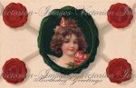 Victorian Birthday Postcard Down-load Image Girl With Hearts