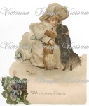 Victorian Girl With Large Hat With Welcome Dogs Image Download