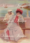 Victorian Lady And Man At The Beach Download Graphic Image