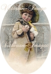 Victorian Snow Girl With Snow Balls Silhouette