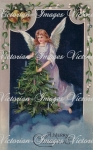 Beautiful Victorian Christmas Angel With Trees And Candles