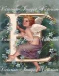 Victorian Angel In For-get -me-nots Sitting On Letter L Download Image