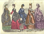 Godey's Fashions December 1870 Victorian Women Engraving Colored