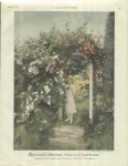 Vintage Print Roses And Viburnum Little Girl In Rose Garden By F. Fands Brunner 1921 Beautiful