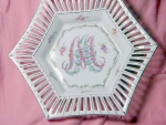 Bavarian Candy Dish Painted Flower's Gold Trim