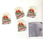 Vintage Christmas Seals Merry Christmas With Candles