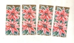 Vintage Small Christmas Greeting Cards Poinsetta's Unused