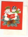 Vintage Christmas And New Year Snowman And Girl Card